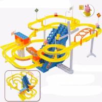 抖音小猪玩具佩奇自动爬上楼梯佩琪滑滑梯电动拼装轨道车儿童玩具 佩佩猪 三楼梯 大风车