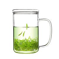 玻璃杯带把带盖泡茶杯玻璃茶杯茶水分离过滤茶花水杯办公室家用