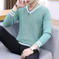 男士毛衣v领韩版秋季修身针织衫潮流毛衫休闲青年线衣男装打底衫