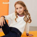【3件3折:89.7】安奈儿童装女大童针织花边圆领毛衣