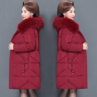中老年冬装棉衣女中长款妈妈装200斤加大码中年棉袄外套 XL 120斤以内