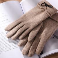 手套女士秋冬季保暖可爱学生冬天加绒加厚骑行开车触摸屏手套 均码