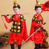 六一儿童演出服装男女盔甲古代士兵将军兵马俑花木兰戏曲表演服 上衣+裤子+头饰+披风 160cm