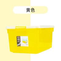 茶花塑料收纳箱玩具透明置物箱零食衣服收纳盒子有盖整理箱储物盒