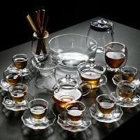 家用简约透明玻璃茶具套装实木茶盘茶壶盖碗双层隔热茶杯