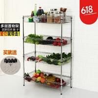 四层蔬菜架水果网架厨房架不锈钢色置物架层架