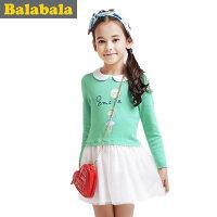 巴拉巴拉童装女童甜美可爱拼接连衣裙中大童裙子春装儿童淑女裙