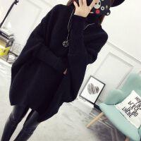 秋冬中长款毛衣套头女韩版宽松蝙蝠衫针织衫加厚外套高领冬季女装 黑色 9028