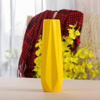 黄色陶瓷花瓶 30cm木脚花瓶套装 家居装饰客厅玄关餐桌中国风摆设 30cm 黄色 十角