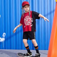 【年中大促2件2折:65】巴拉巴拉旗下2019夏季新款男童中大童撞色印花儿童运动套装