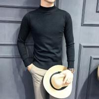 男毛衣男士半高领毛衣纯色套头中领针织毛衣男高领打底衫 黑色 偏小建议拍大一码