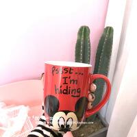 可爱卡通米奇维尼熊早餐牛奶杯大马克杯咖啡杯情侣带勺陶瓷水杯子