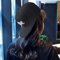 帽子女棒球帽韩国嘻哈帽男鸭舌帽夏天韩版潮休闲帽女士户外平沿帽 DO款 可调节