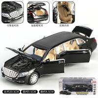 奔驰汽车模型合金新款奔驰车模迈巴赫S650汽车模型加长仿真合金儿童玩具车回力车模 黑色【盒装】
