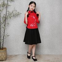 六一儿童古装民国学生服装五四青年装唐装小姐装毕业照演出服女童 女装红色绣花 120cm