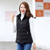 女士2019秋冬季棉马甲女短款韩版可脱卸帽羽绒棉背心坎肩外穿 L 建议98斤以下
