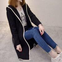 衣服风衣秋冬女装韩版中长款开衫加绒带帽外套女