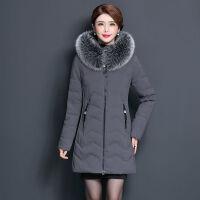 冬季女中长款修身加厚羽绒服中老年妈妈装保暖连帽真毛领外套 L 适合85-95斤穿