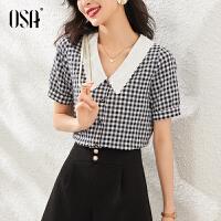 【超品叠券预估价:127】OSA女士格子衬衫夏季2020年新款薄款设计感小众衬衣百搭短袖上衣