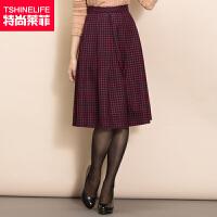 特尚莱菲 秋冬半身裙子新款女装格子中长裙显瘦a字半裙 WWH1536