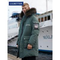 2.5折价:539;Lilbetter羽绒服男中长款潮流帅气羽绒衣LB防寒保暖外套冬季新款