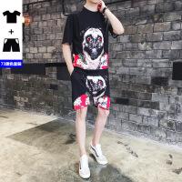 夏季男士狗头印花短袖T恤套装社会小伙短裤两件套装大码网红潮牌