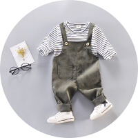 婴幼儿衣服春季男女儿童宝宝春装外出服棉背带裤套装0-1-2-3岁4 条绒背带套绿色 73cm