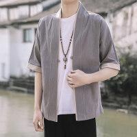男士中国风唐装上衣七分袖麻衬衫古风汉服复古短袖麻料套装男夏涂