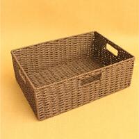 草编收纳筐无盖整理盒长方形编织框储物箱大号编制收纳盒矮扁 38cmx26cmx12cm