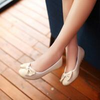 彼艾2015春季韩版圆头学生平跟船鞋蝴蝶结单鞋女平底瓢鞋学生鞋女鞋