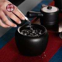 陶瓷器茶具配件茶洗大号定窑白色罐子滤网茶水桶两用水盂粗陶