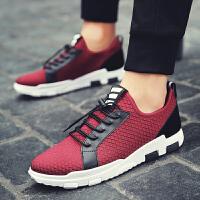男鞋潮鞋男士运动鞋透气跑步轻便韩版潮流学生板鞋休闲网鞋黑