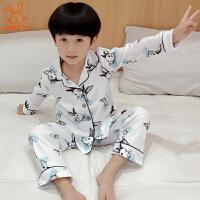 儿童睡衣棉长袖春秋男孩睡衣家居服全棉套装7-9岁