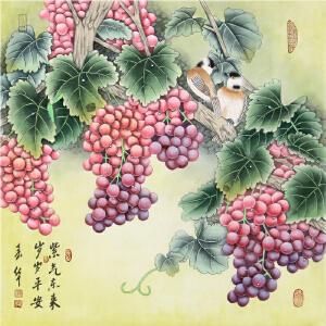 精致工笔葡萄国画《紫气东来 岁岁平安》春华-中国女工笔画协会委员R2952