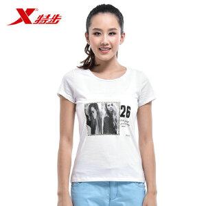 特步女短袖T恤2015夏季新款舒适百搭女上衣