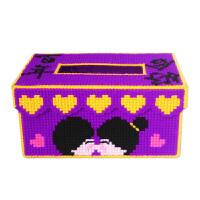 3D十字绣新款客厅手工纸巾盒立体绣抽纸盒收纳盒人物图案毛线绣 相相爱 宝蓝