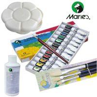 马利手绘丙烯颜料调料调色盘画笔勾线笔12色 18色 24色套装