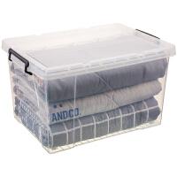 透明收纳箱塑料特大号衣服整理箱收纳神器收纳盒储物箱加厚带轮子 滑轮款