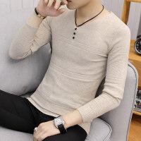 2018秋冬季毛衣男士针织衫V领韩版修身潮流纯色男装上衣长袖线衣