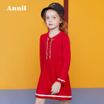 【3件3折:110.7】安奈儿童装女童木耳边翻领A字针织连衣裙