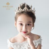 儿童皇冠头饰公主王冠水晶大发箍粉色女孩生日发饰