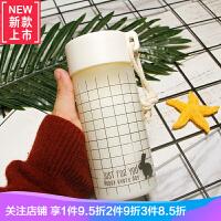 森系简约ins风 情侣杯子一对水杯女学生简约小清新磨砂便携玻璃杯