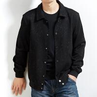 男士春秋季长袖衬衫胖人肥佬加肥加大码时尚印花宽松休闲上衣