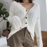 秋冬女装针织开衫V领长袖毛衣外套女韩版宽松学生羽毛纱上衣