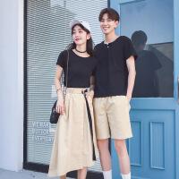不一样的情侣装夏装新款套装短袖T恤男女裙子韩版夏季气质两件套