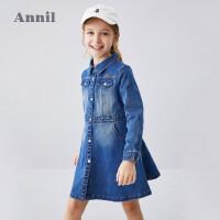安奈儿童装女童连衣裙长袖2020新款柔软透气舒适中大童牛仔裙子春5