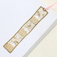 中国风复古金属书签 唯美简约立体樱花镂空书签创意古典礼品书签D