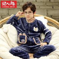 秋冬季加厚法兰绒儿童睡衣珊瑚绒家居服套装男孩