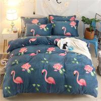 床单被套四件套冬季加绒珊瑚绒三件套双面带绒毛毯两件