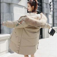 羽绒服女中长款20*毛领韩版时尚羽绒服长款过膝外套 S 建议80-105斤